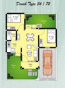 Gambar Desain dan Poin Denah Rumah Minimalis Type 36
