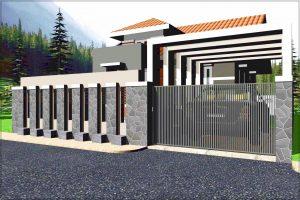 Contoh pagar batu alam rumah minimalis type 36