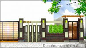 Desain pagar rumah minimalis modern 1 lantai menggunakan batu alam