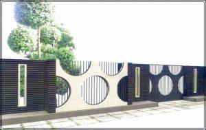 Desain pagar rumah minimalis modern 1 lantai menggunakan bahan logam