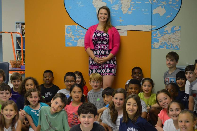 Me with the current 3rd and 4th graders (photo credit: Lucy Hazel)