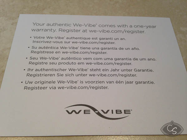 We Vibe 4 instruction manual and warranty / guarantee