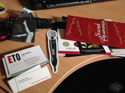 goody bag business cards and freebies eroticon 2014