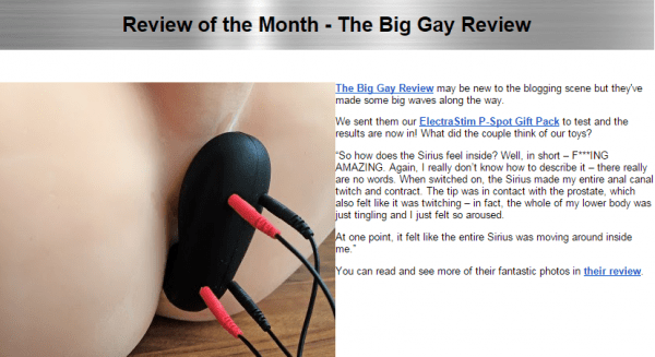 big gay review on electrastim newsletter