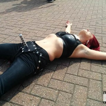 Me taking as quick break in the sun with my ElectraStim strap-on