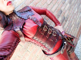 Mistress Cara Red Leather Mord-Sith Cosplay Outfit-6