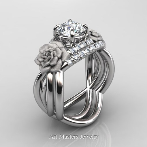 Nature Inspired 14K White Gold 1 0 Ct White Sapphire Diamond Rose     Nature Inspired 14K White Gold 1 Ct White