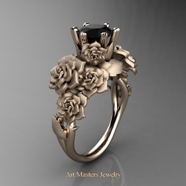 Nature Inspired 14K Rose Gold 1 0 Ct Black Diamond Rose Bouquet Leaf     Nature Inspired 14K Rose Gold 1 0 Ct Black Diamond Rose Bouquet Leaf and  Vine Engagement Ring