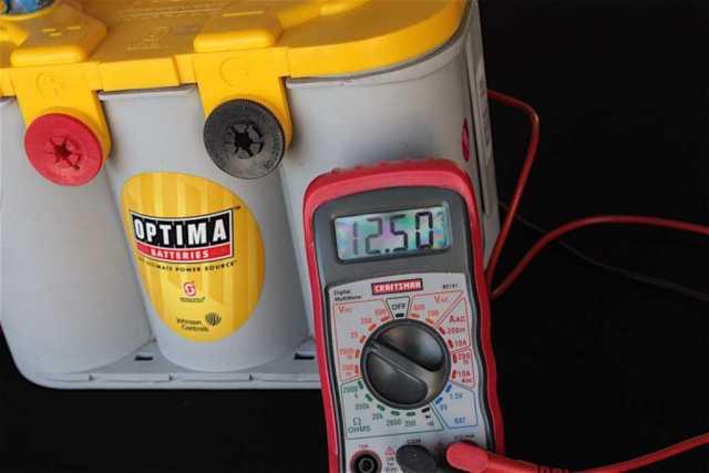 An AMG Deep Cycle battery charged at less than 50 percent reading 12.5V