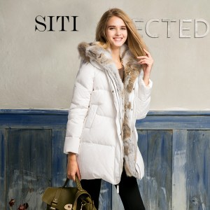 2017 new year women down warm long gift coat jacket parka zipper fashion new winter outerwear rabbit fur collar plus size thick