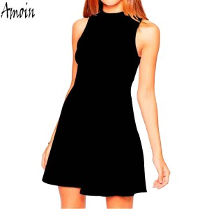 Amoin Casual Women Little Black Dress 2017 Summer Brand Fashion Vestidos High Neck Sleeveless Empire A Line Knee Length Dress