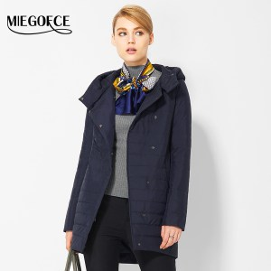 MIEGOFCE 2017 New Spring Windproof Coats Women Oblique Placket Women Parkas Stand Collar Hood Thin Cotton Padded Jacket for Mom