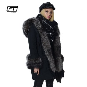 Fitaylor 2017 New Winter Jacket Women 90% White Duck Down Warm Hooded Parka Luxury Fox Fur Medium Long Jacket Snow Outwear