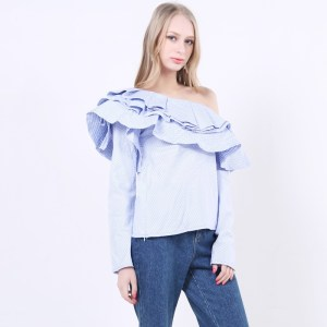 2017 Spring Off The Shoulder Slash Neck With Ruffles Striped T shirt Women Tops New Fashion Clothing