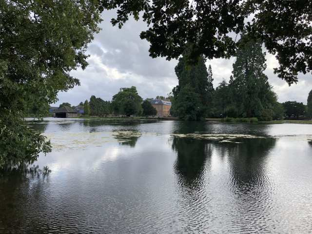 View across the lake towards Tredegar House