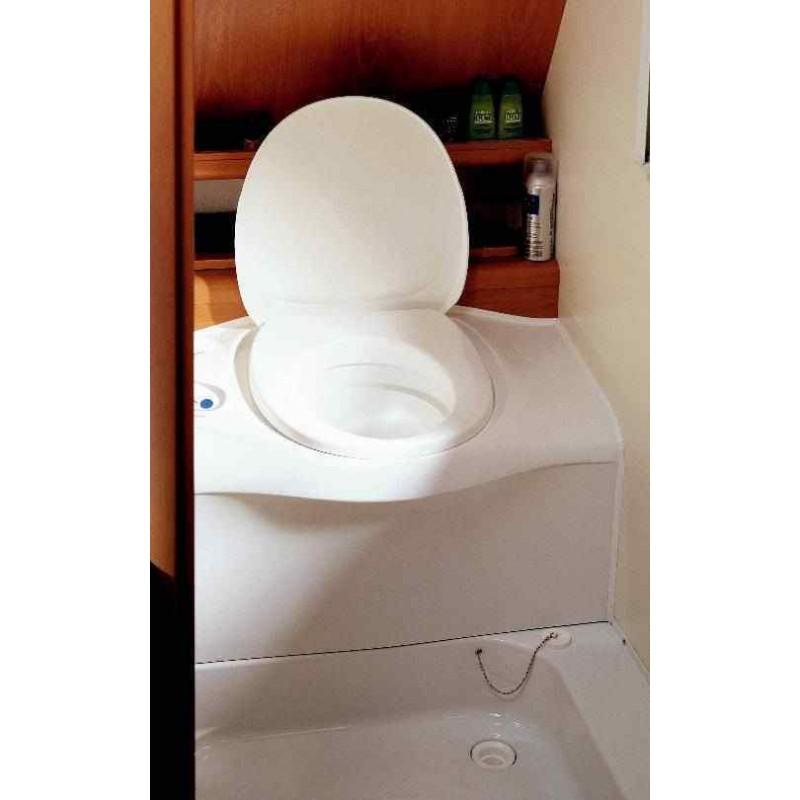 wc cassette blanc avec reservoir d eau propre portillon blanc sortie gauche pour caravane et camping car
