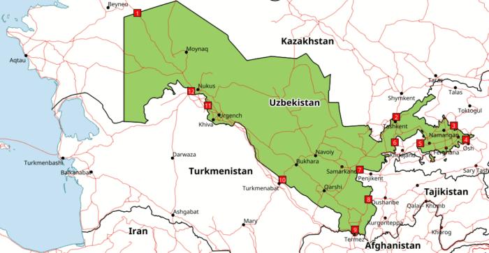 Fronteras con Uzbequistán
