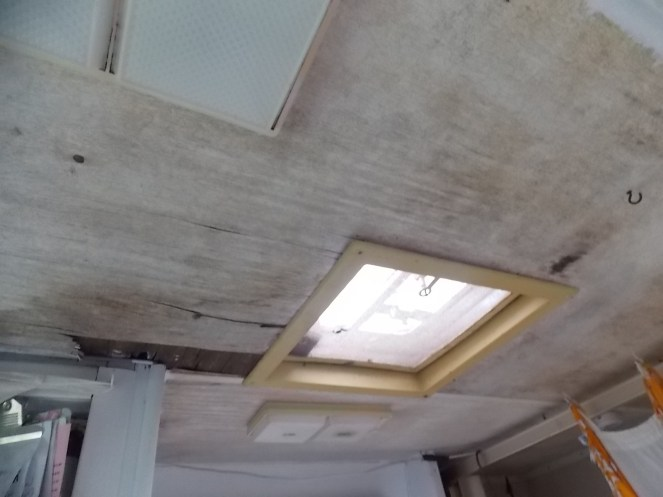 Bathroom Ceiling BEFORE Bead board. New Bead Board Ceiling in Retro Glamper RV Bathroom   Caravan