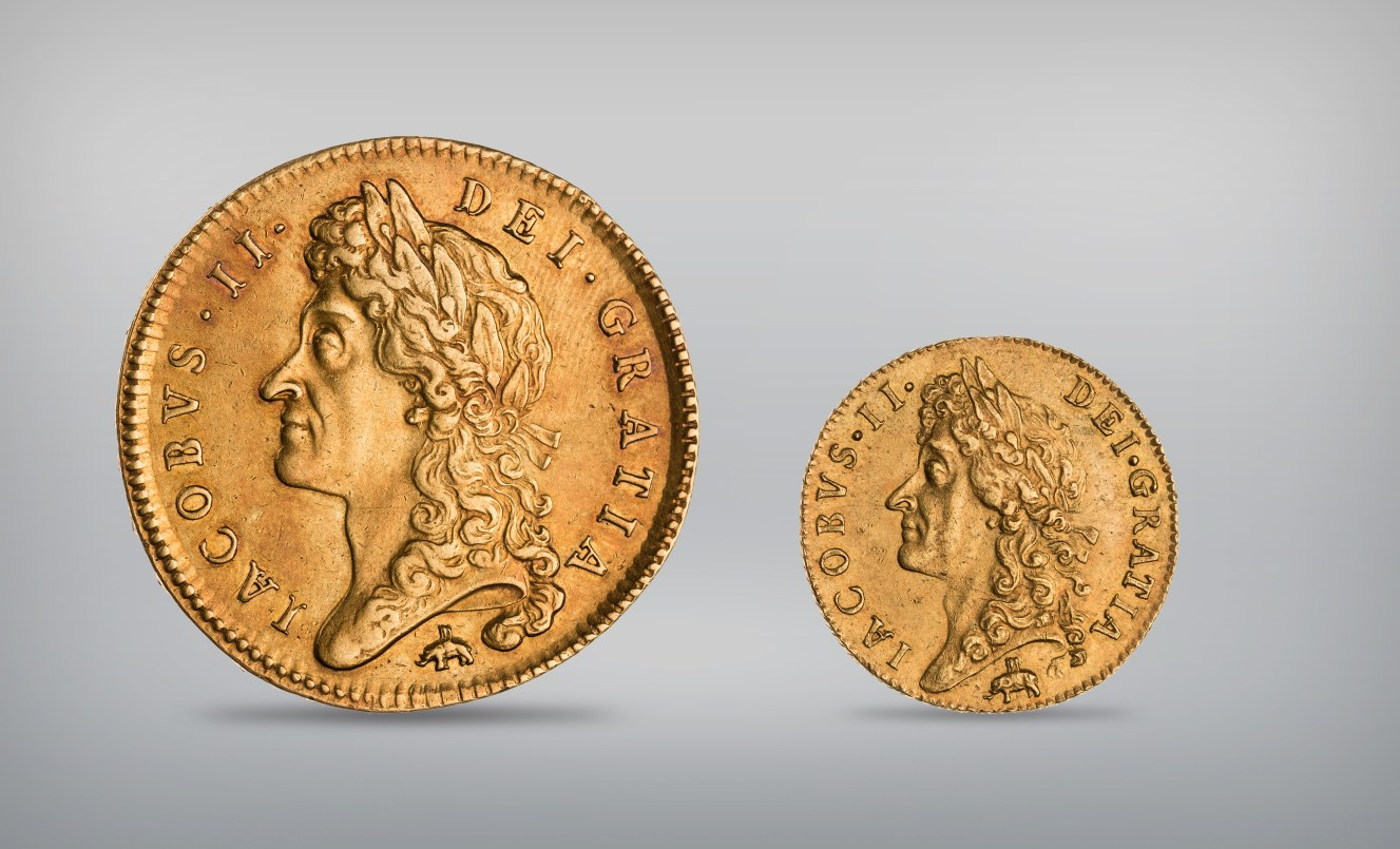 Left: 5 guinea of James II, struck at London, 1685. Gold, diameter 3.5 cm. American Numismatic Society, New York, 1957.172.19. Right: 1 guinea coin of James II, 1688, struck at London. Gold, diameter 2.5 cm. Photograph courtesy of the American Numismatic Society, New York, 0000.999.596 The Dutch and English vied for lucrative trade along Africa's West Coast in the mid- seventeenth century. In this period the English produced guinea coins marked with an elephant-and-castle motif below a bust of the English king, James II. The motif was stamped only onto coins made from West African gold acquired by the newly established Royal Africa Company, which was granted monopoly on this trade by the British crown in 1672. This iconography illustrates the continuing importance of gold and ivory as commodities, even as trade shifted away from the Saharan routes.