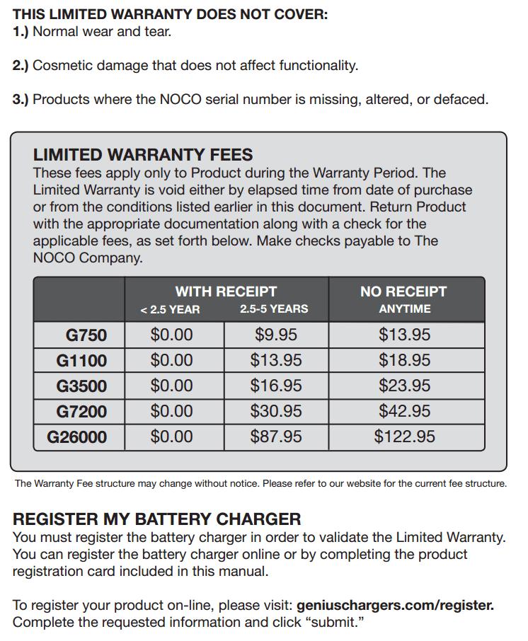 noco genius g4 warranty