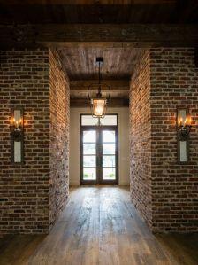 Hardwood floor and brick walls