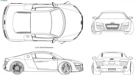 CAR Blueprints Audi R8 Blueprints Vector Drawings