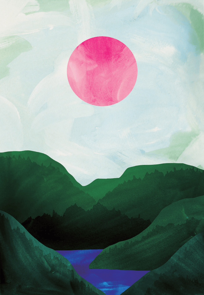 A giant, fuchsia-pink circular sun above lush green valley, carved out by a marine blue river. Graphic in style, by Hello Grimes. Available as an A2 Print.