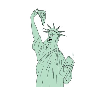 The statue of liberty holds a slice of pizza aloft, and is ready to eat it - copper green and black lines on white