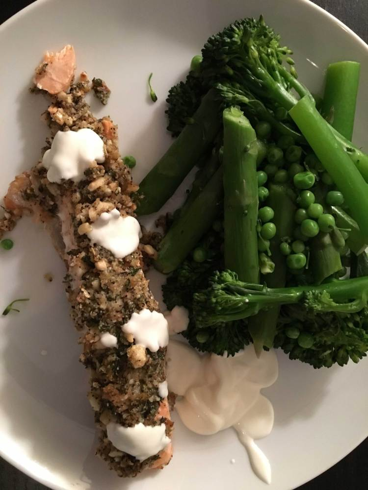 Trout pout with a herby crust and steamed greens