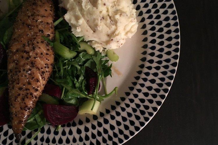 Mackerel and mustard mash with beetroot salad