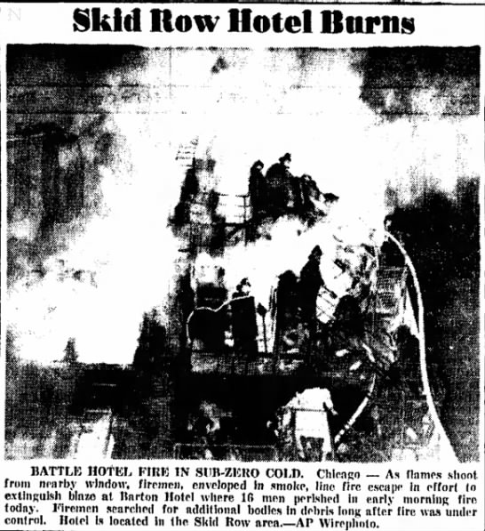 Barton Hotel Fire, Chicago, Illinois – February 12, 1955