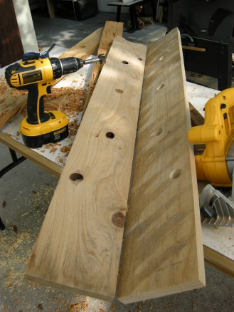 I bought the cypress board on the left because of the perfect knot holes. Then mirrored them in the board on the right.