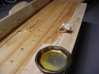 Danish oil penetrates and accentuates the grain of the wood.