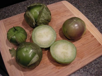 Tomatillos, the essential ingredient to green salsa.