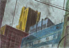 Unleashed Sketch 187 | Schizzo scatenato 187, pastel, pencil and marker on colored paper, 2013