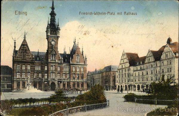 Elbing Friedrich Wilhelm Platz Mit Rathaus Poland