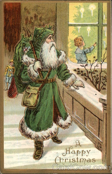 Santa In Green Robe Santa Claus
