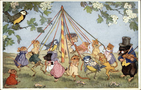 Small Clothed Forest Animals Dancing Around The May Pole