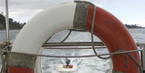Image of life ring and dingy