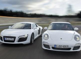 Audi R8 и Porsche 911