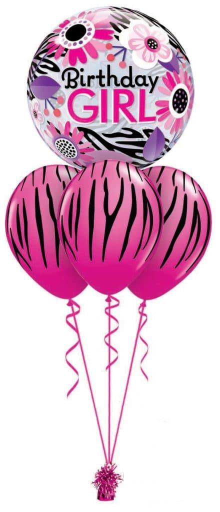Birthday Pink Zebra Bubble Layer Image