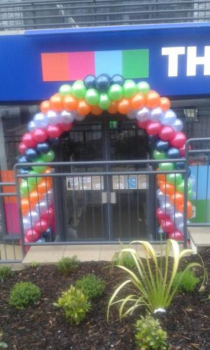 5 colour spiral arch for The Original Factory Shop in Barry South Wales