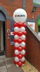 Wurth Industries had large pillars with personalised 3ft balloon toppers