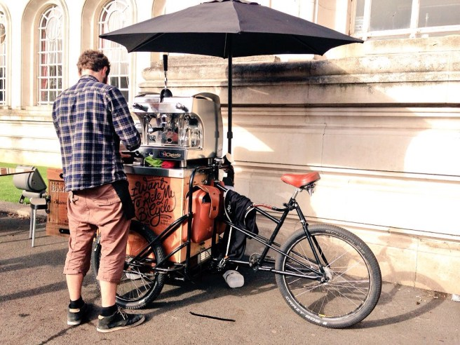 Handlebar Barista Cardiff coffee by bike cardiff cyclist