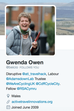 Gwenda Owen, Beicio, Cardiff cycle city, CTC, cardiff cycling, cyclist