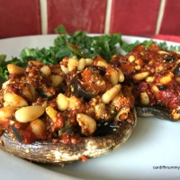This week we're eating… Portobello mushrooms stuffed with sundried tomatoes, black olives and pine nuts