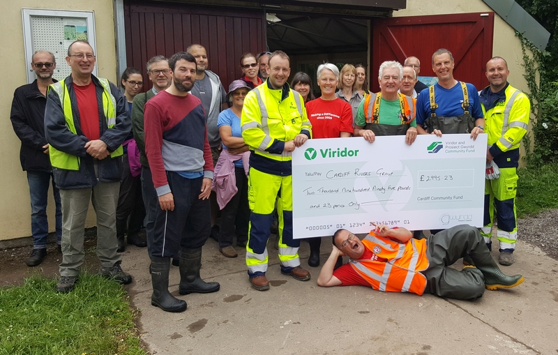 CRG being presented with a cheque for nearly £3,000 from the Viridor & Prosiect Gwyrdd Community Fund.