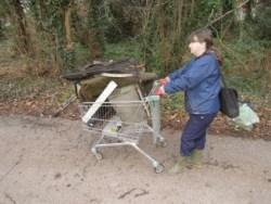 Hauling a trolley load in Pentwyn.