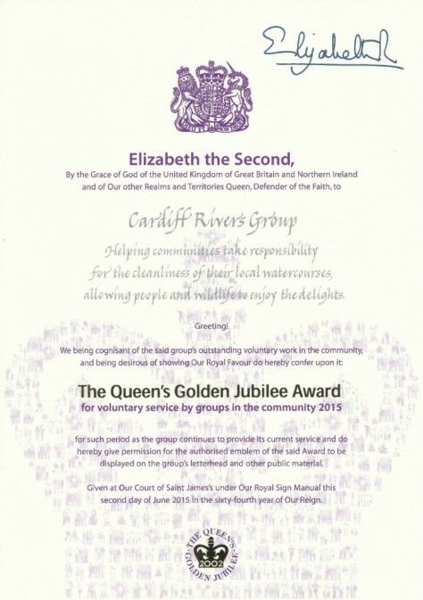 The Queen's Award for Voluntary Service, awarded to Cardiff Rivers Group.