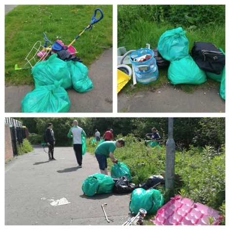 Piles of rubbish collected